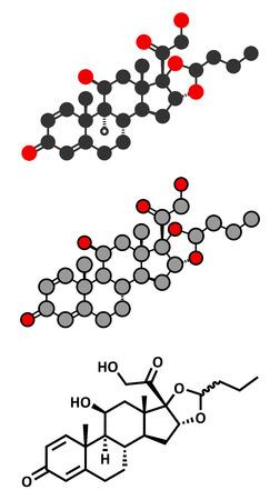 Budesonide corticosteroid drug.  Illustration