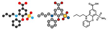 Bumetanide heart failure drug molecule. Ilustração