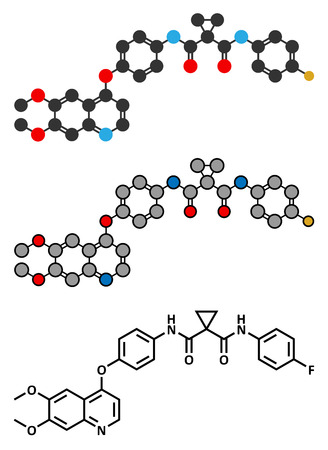 Cabozantinib cancer drug molecule. Vector Illustration
