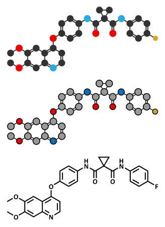 kinase: Cabozantinib cancer drug molecule.  Illustration