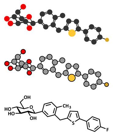 hyperglycemia: Canagliflozin diabetes drug molecule.