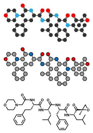 myeloma: Carfilzomib (CFZ) multiple myeloma cancer drug molecule.  Illustration