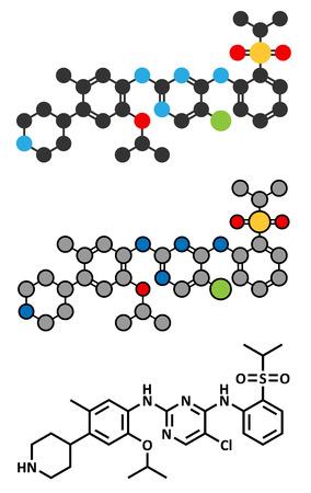 Ceritinib cancer drug molecule.  Ilustração