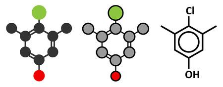 antiseptic: Chloroxylenol antiseptic molecule. Illustration