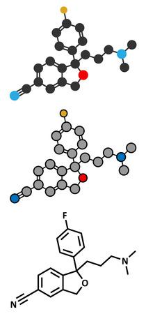 ocd: Citalopram anti-depressant drug molecule.  Illustration