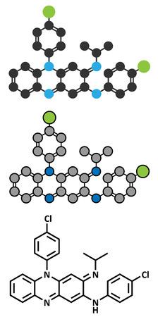 leprosy: Clofazimine leprosy drug molecule.
