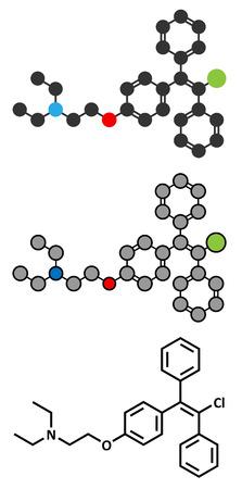 Clomifene (clomiphene) ovulation inducing drug molecule.  Illustration
