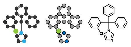 Clotrimazole antifungal drug molecule.  Illustration