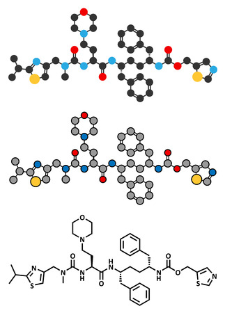 Cobicistat cytochrome P450 inhibiting drug molecule.