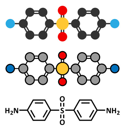 Dapsone antibacterial drug molecule. Çizim