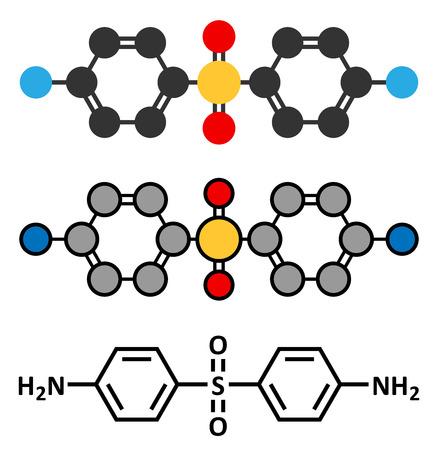 leprosy: Dapsone antibacterial drug molecule. Illustration