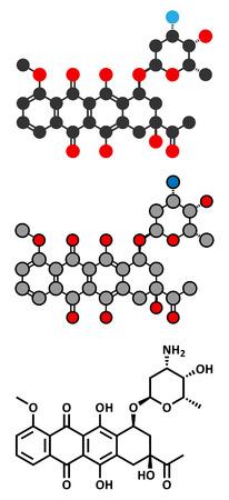 chemotherapeutic: Daunorubicin (daunomycin) cancer chemotherapy drug molecule.