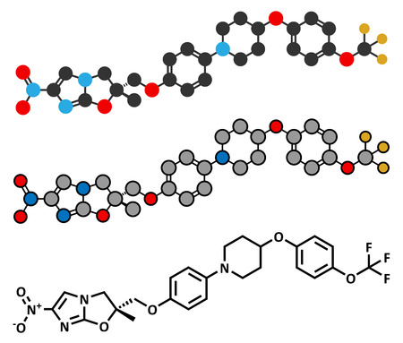 mycobacterium: Delamanid tuberculosis drug molecule. Illustration