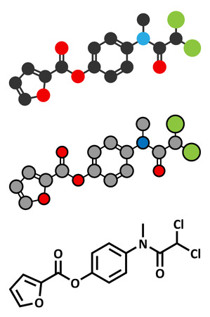 cyst: Diloxanide furoate amoebiasis drug molecule.