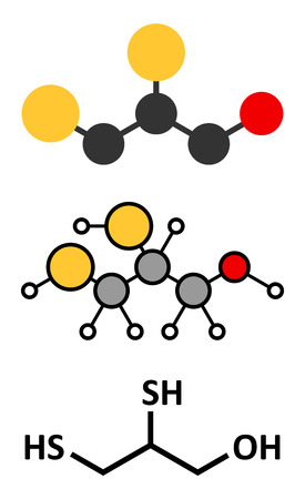 arsenic: Dimercaprol (BAL, British Anti-Lewisite) metal poisoning antidote molecule. Illustration
