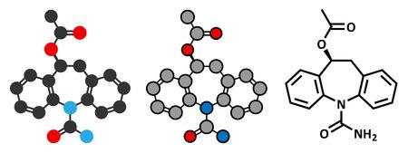 epilepsy: Eslicarbazepine acetate epilepsy drug molecule.