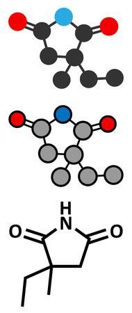 mal: Ethosuximide anticonvulsant drug molecule.