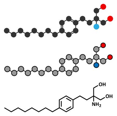 ms: Fingolimod multiple sclerosis (MS) drug molecule.