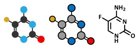 candida: Flucytosine (5-fluorocytosine) antimycotic drug molecule.  Illustration