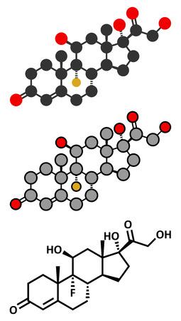 steroid: Fludrocortisone aldosterone hormone substitution drug molecule.