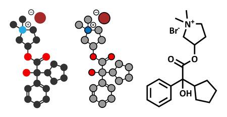 acetylcholine: Glycopyrronium bromide (glycopyrrolate) COPD drug molecule.  Illustration