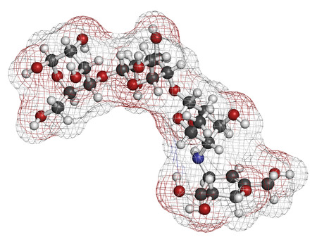 antidiabetic: Acarbose diabetes drug molecule. Blocks carbohydrate digestion by inhibiting alpha-glucosidase enzymes. Atoms are represented as spheres with conventional color coding: hydrogen (white), carbon (grey), oxygen (red), nitrogen (blue).