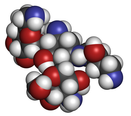 Amikacin aminoglycoside antibiotic molecule. Mostly used as last-resort treatment of multidrug-resistant Gram-negative bacteria. Atoms are represented as spheres with conventional color coding: hydrogen (white), carbon (grey), oxygen (red), nitrogen (blue Stock Photo