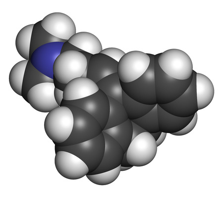 neuropathic: Amitryptiline tricyclic antidepressant drug molecule. Used in treatment of clinical depression. Atoms are represented as spheres with conventional color coding: hydrogen (white), carbon (grey), nitrogen (blue). Stock Photo