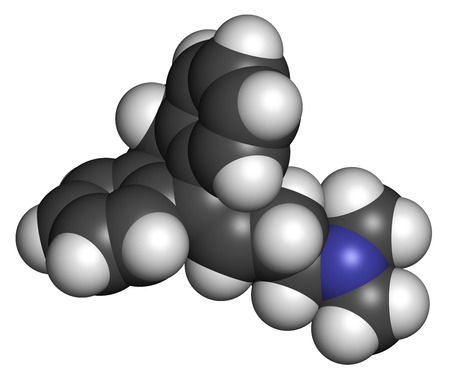 antidepressant: Amitryptiline tricyclic antidepressant drug molecule. Used in treatment of clinical depression. Atoms are represented as spheres with conventional color coding: hydrogen (white), carbon (grey), nitrogen (blue). Stock Photo