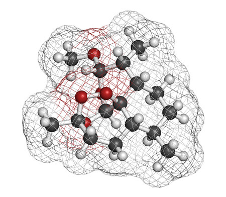 methyl: Artemether malaria drug molecule. Active against schizonts of Plasmodium falciparum and vivax. Methyl ether derivative of artemisinin. Atoms are represented as spheres with conventional color coding: hydrogen (white), carbon (grey), oxygen (red).