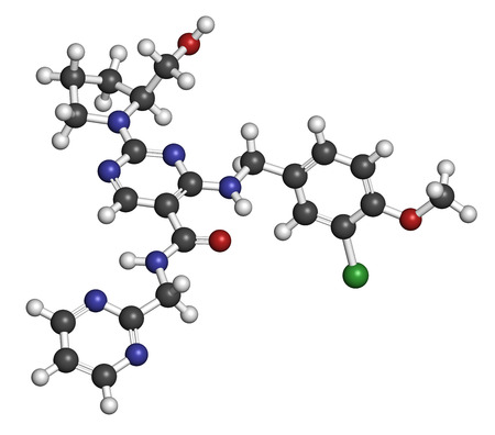 cavernosum: Avanafil erectile dysfunction drug molecule. PDE5 inhibitor used in treatment of impotence. Atoms are represented as spheres with conventional color coding: hydrogen (white), carbon (grey), oxygen (red), nitrogen (blue).