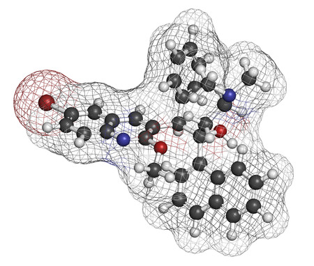 generic medicine: Bedaquiline tuberculosis drug. Diarylquinoline antibacterial used in treatment of mycobacterium tuberculosis infections. Atoms are represented as spheres with conventional color coding: hydrogen (white), carbon (grey), oxygen (red), chlorine (green).