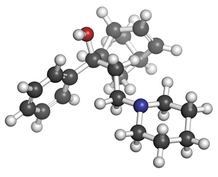 anticholinergic: Biperiden Parkinsons disease drug molecule. Atoms are represented as spheres with conventional color coding: hydrogen (white), carbon (grey), oxygen (red), nitrogen (blue), chlorine (green).