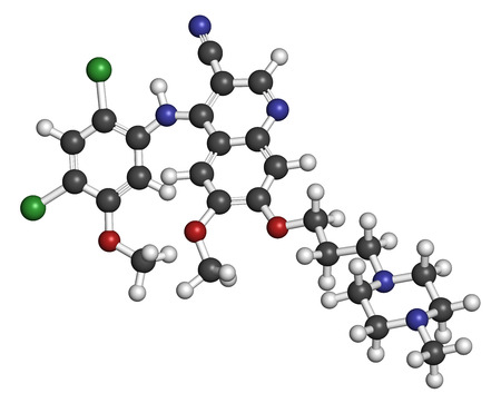 kinase: Bosutinib chronic myelogenous leukemia (CML) drug molecule. Tyrosine kinase inhibitor targeting Bcr-Abl and SRc family kinase. Atoms are represented as spheres with conventional color coding: hydrogen (white), carbon (grey), oxygen (red), nitrogen (blue).