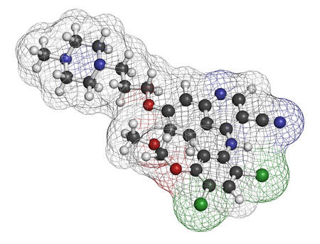 Bosutinib chronic myelogenous leukemia (CML) drug molecule. Tyrosine kinase inhibitor targeting Bcr-Abl and SRc family kinase. Atoms are represented as spheres with conventional color coding: hydrogen (white), carbon (grey), oxygen (red), nitrogen (blue).