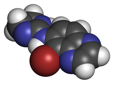 Brimonidine alpha2-adrenergic drug molecule. Used in treatment of open-angle glaucoma, ocular hypertension and rosacea. Atoms are represented as spheres with conventional color coding: hydrogen (white), carbon (grey), nitrogen (blue), bromine (brown).