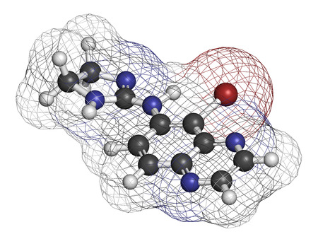 ocular diseases: Brimonidine alpha2-adrenergic drug molecule. Used in treatment of open-angle glaucoma, ocular hypertension and rosacea. Atoms are represented as spheres with conventional color coding: hydrogen (white), carbon (grey), nitrogen (blue), bromine (brown).