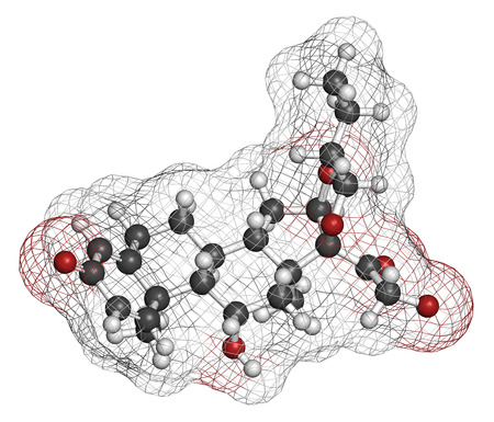 colitis: Budesonide corticosteroid drug. Used in treatment of COPD, asthma, ulcerative colitis, hay fever, Crohns disease, etc. Atoms are represented as spheres with conventional color coding: hydrogen (white), carbon (grey), oxygen (red).