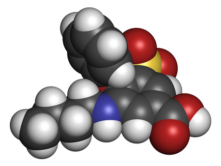 diuretic: Bumetanide heart failure drug molecule. Loop diuretic, also used for weight loss and as masking agent by users of doping agents. Atoms are represented as spheres with conventional color coding: hydrogen (white), carbon (grey), oxygen (red), nitrogen (blue