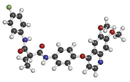 kinase: Cabozantinib cancer drug molecule. Inhibitor of c-Met and VEGFR2 tyrosine kinases, used in treatment of medullary thyroid cancer. Atoms are represented as spheres with conventional color coding: hydrogen (white), carbon (grey), oxygen (red), nitrogen (blu