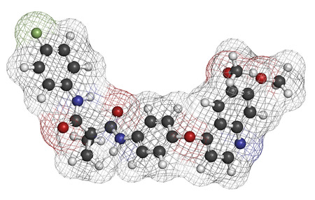 nitrogen: Cabozantinib cancer drug molecule. Inhibitor of c-Met and VEGFR2 tyrosine kinases, used in treatment of medullary thyroid cancer. Atoms are represented as spheres with conventional color coding: hydrogen (white), carbon (grey), oxygen (red), nitrogen (blu