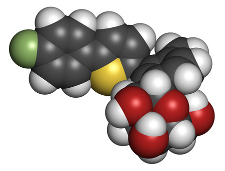 Canagliflozin diabetes drug molecule. SGLT2 inhibitor used in treatment of type II diabetes. Atoms are represented as spheres with conventional color coding: hydrogen (white), carbon (grey), oxygen (red), sulfur (yellow), fluorine (light green). photo