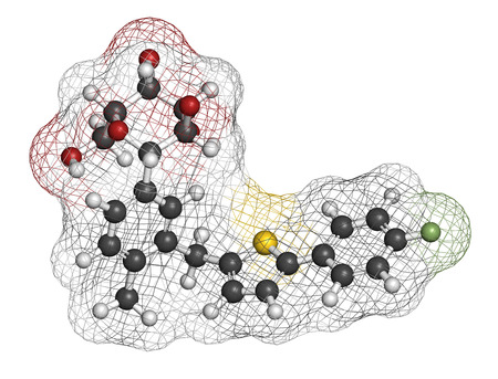 generic medicine: Canagliflozin diabetes drug molecule. SGLT2 inhibitor used in treatment of type II diabetes. Atoms are represented as spheres with conventional color coding: hydrogen (white), carbon (grey), oxygen (red), sulfur (yellow), fluorine (light green).