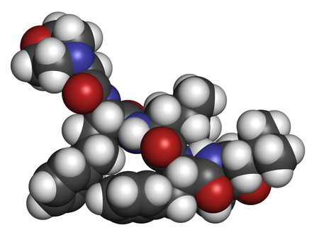 myeloma: Carfilzomib (CFZ) multiple myeloma cancer drug molecule. Proteasome inhibitor derived from natural product epoxomicin. Atoms are represented as spheres with conventional color coding: hydrogen (white), carbon (grey), oxygen (red), nitrogen (blue).