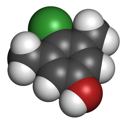 disinfectant: Chloroxylenol antiseptic molecule. Disinfectant used against bacteria, algae, fungi and viruses. Atoms are represented as spheres with conventional color coding: hydrogen (white), carbon (grey), oxygen (red), chlorine (green). Stock Photo
