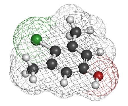 d�sinfectant: Chloroxyl�nol mol�cule antiseptique. D�sinfectant utilis� contre les bact�ries, les algues, les champignons et les virus. Les atomes sont repr�sent�s par des sph�res avec codage couleur classiques: l'hydrog�ne (blanc), le carbone (gris), d'oxyg�ne (rouge), chlore (vert). Banque d'images