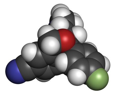 premenstrual syndrome: Citalopram anti-depressant drug molecule. Atoms are represented as spheres with conventional color coding: hydrogen (white), carbon (grey), oxygen (red), nitrogen (blue), fluorine (light green).
