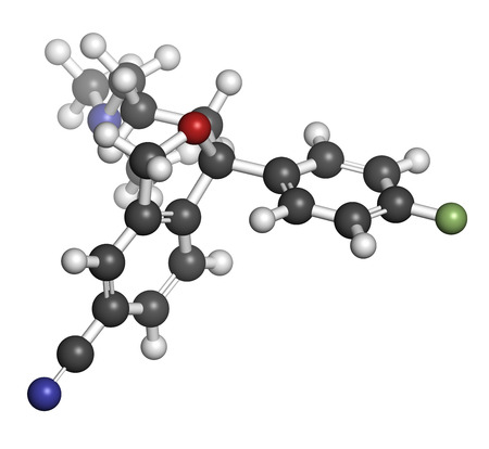 antidepressant: Citalopram anti-depressant drug molecule. Atoms are represented as spheres with conventional color coding: hydrogen (white), carbon (grey), oxygen (red), nitrogen (blue), fluorine (light green).