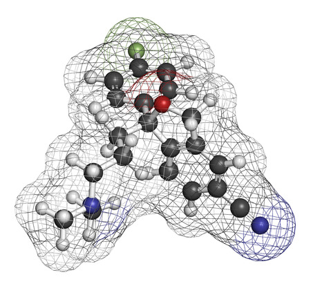 obsessive compulsive: Citalopram anti-depressant drug molecule. Atoms are represented as spheres with conventional color coding: hydrogen (white), carbon (grey), oxygen (red), nitrogen (blue), fluorine (light green).