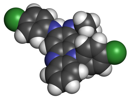 immunosuppressive: Clofazimine leprosy drug molecule. Atoms are represented as spheres with conventional color coding: hydrogen (white), carbon (grey), nitrogen (blue), chlorine (green).